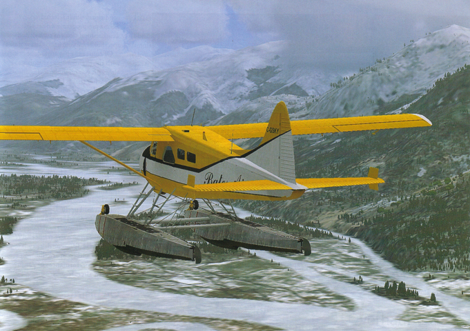 Realistic simulator beaver flying Alaska