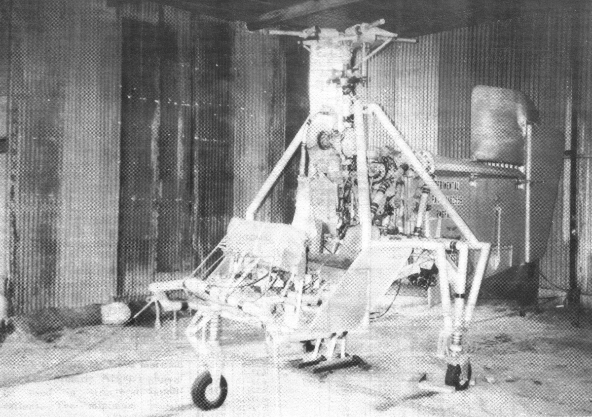 Unknown experimental helicopter found in shed