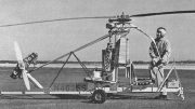 "The unusual Bensen ""Helicopter"" with single main rotor with what looks like a motor driven tail rotor"