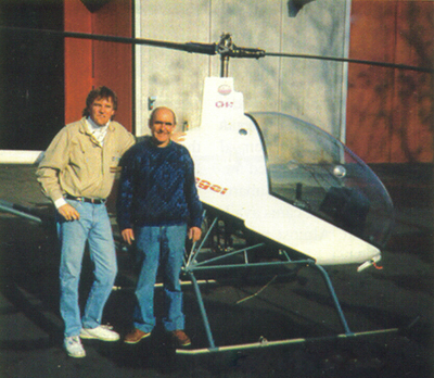 Glen Ryersen & Augusto Cicare with the Angel helicopter