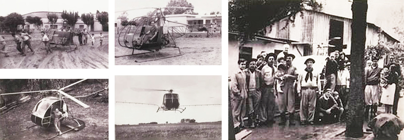 Cicare CH-2 helicopter with village