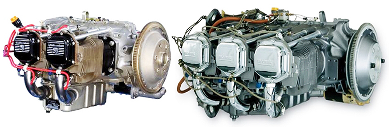 Commercial four stroke aircraft engines