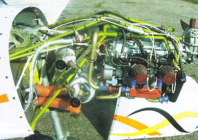 Inverted two stroke aircraft engine