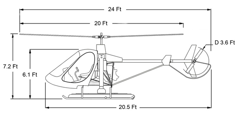 SVH-3 training helicopter dimensions