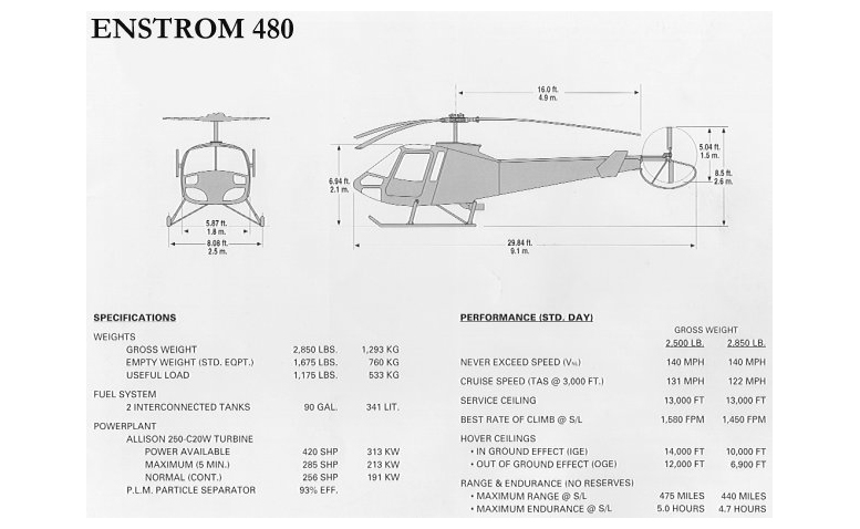 Enstrom 480 drawing