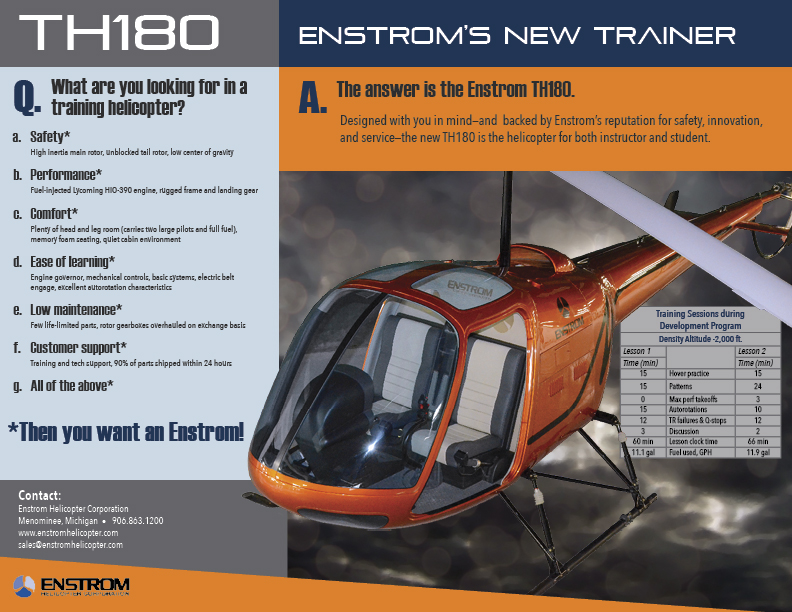 Enstrom TH180 helicopter