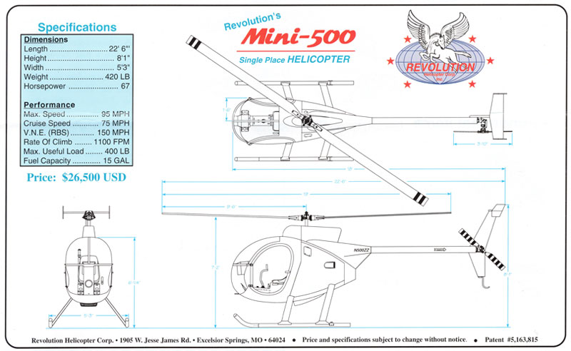 Mini 500 helicopter dimension drawings