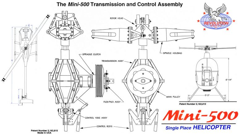 Mini 500 helicopter transmission control assembly