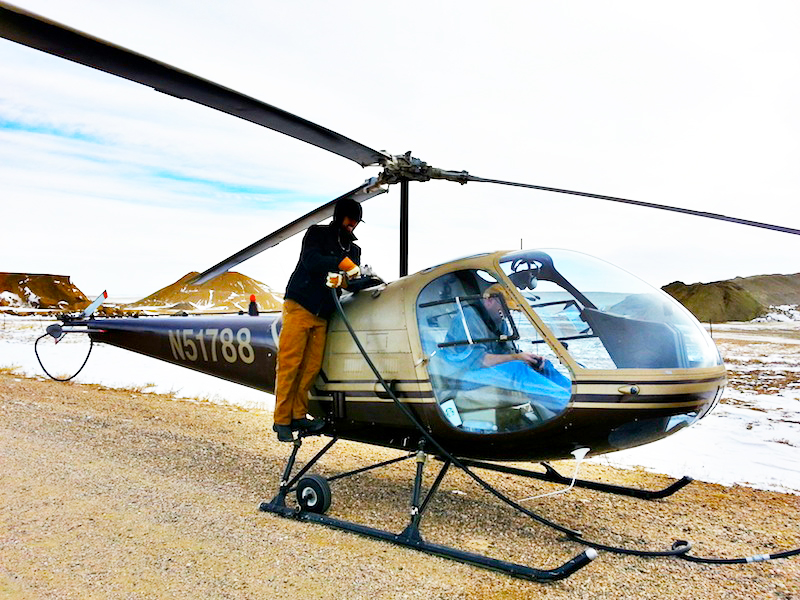 Refueling Enstrom helicopter