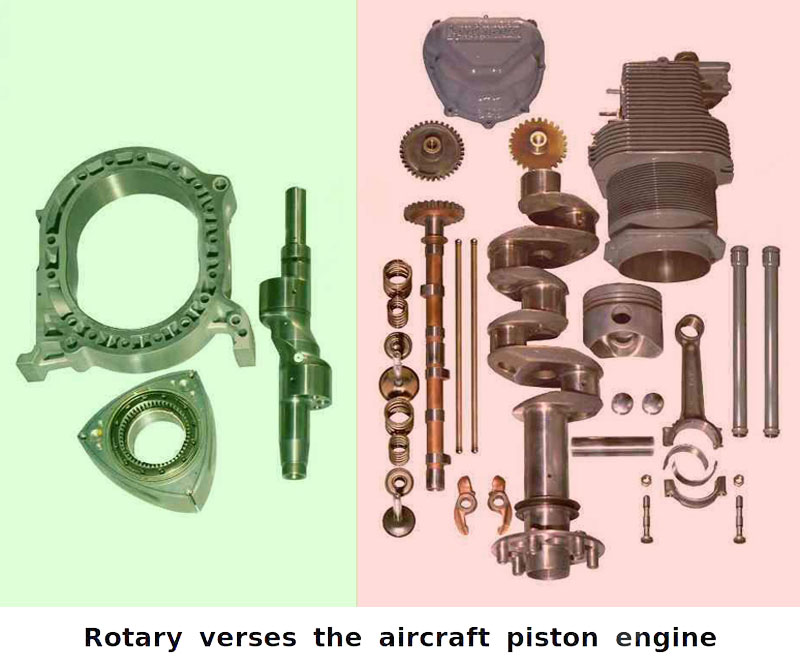 Rotary vs reciprocating engine parts