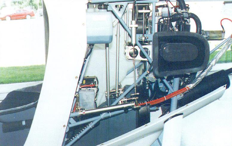 Mini 500 engine bay and controls