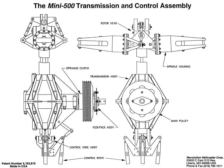 Mini 500 transmission control assembly