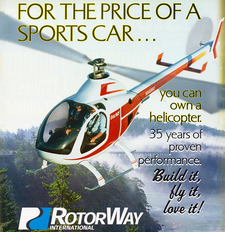 Rotorway 162 F Helicopter advertising