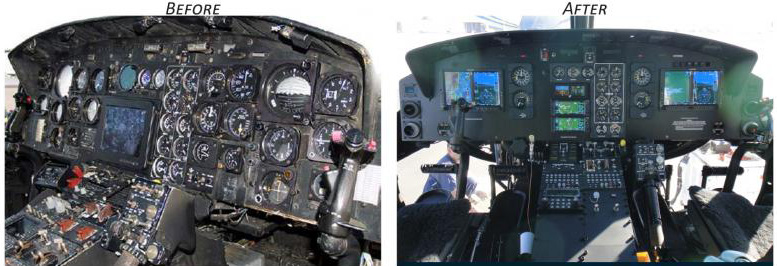 helicopter control panels old new
