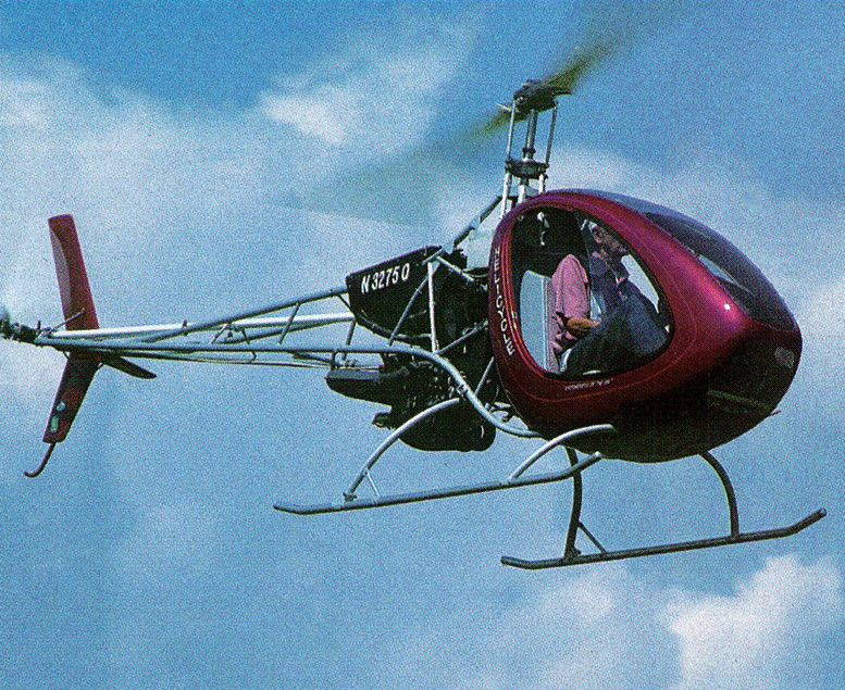 B J Schramm flying his two stroke helicopter kit