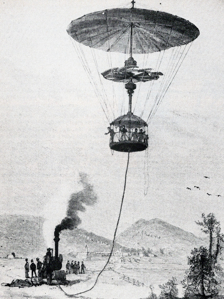 steam powered 1839 tethered helicopter