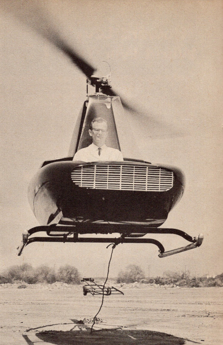 B J Schramm flying Javelin helicopter