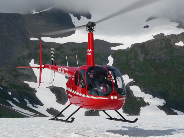 r44 helicopter snow