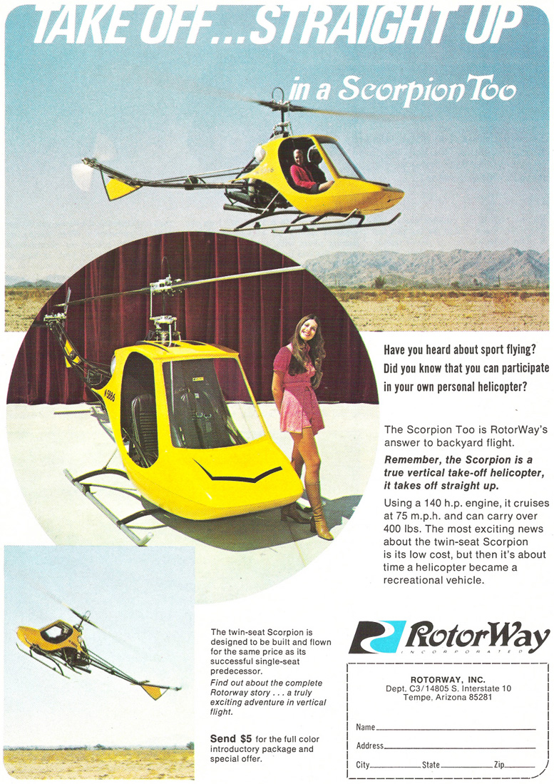 rotorway scorpion two helicopter 140 hp