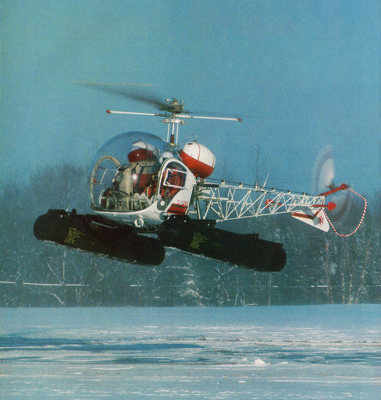 Bell 47 helicopter snow flying