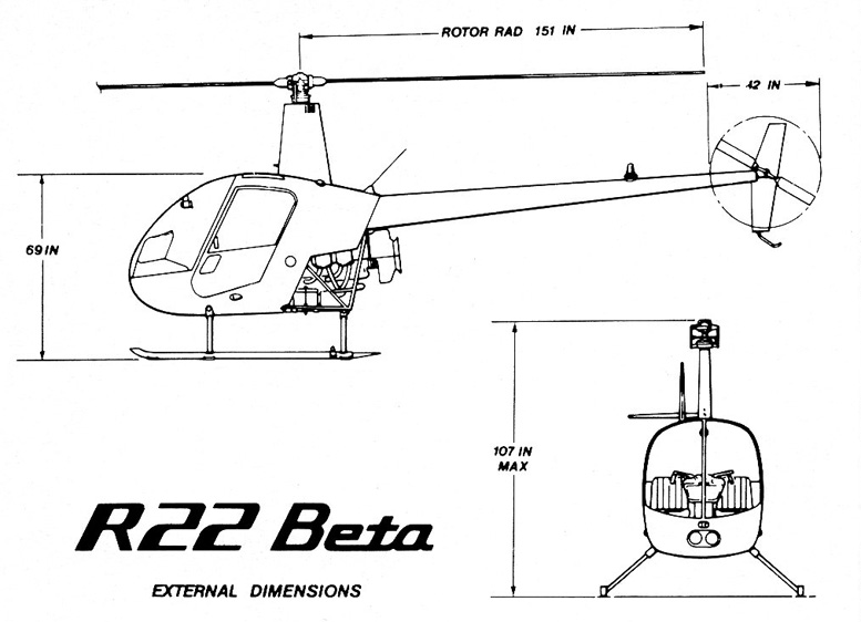 R22 beta helicopter external dimensions