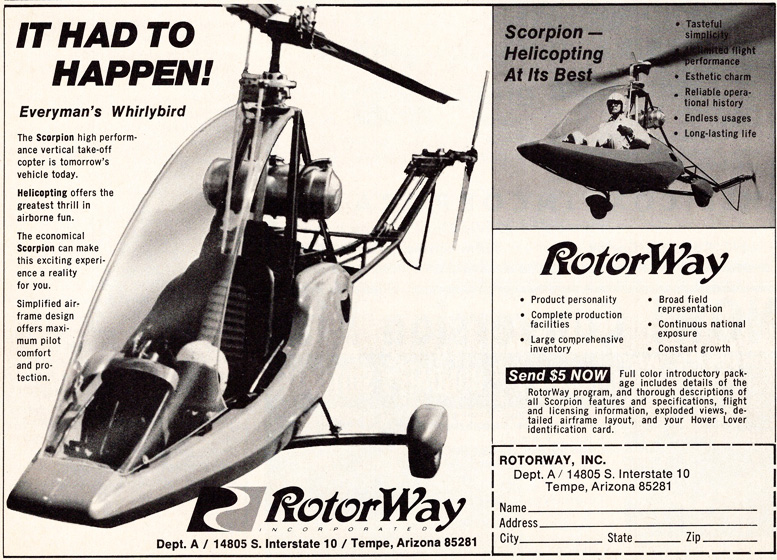 Rotorway scorpion one helicopter advertisement